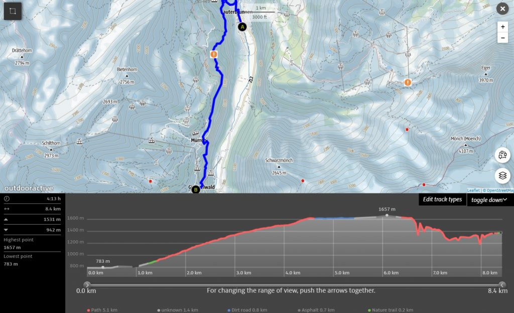 Lauterbrunnen to Gimmelwald Hike map