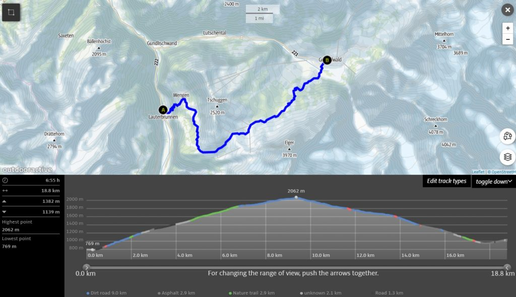 Lauterbrunnen to Grindelwald Hike map