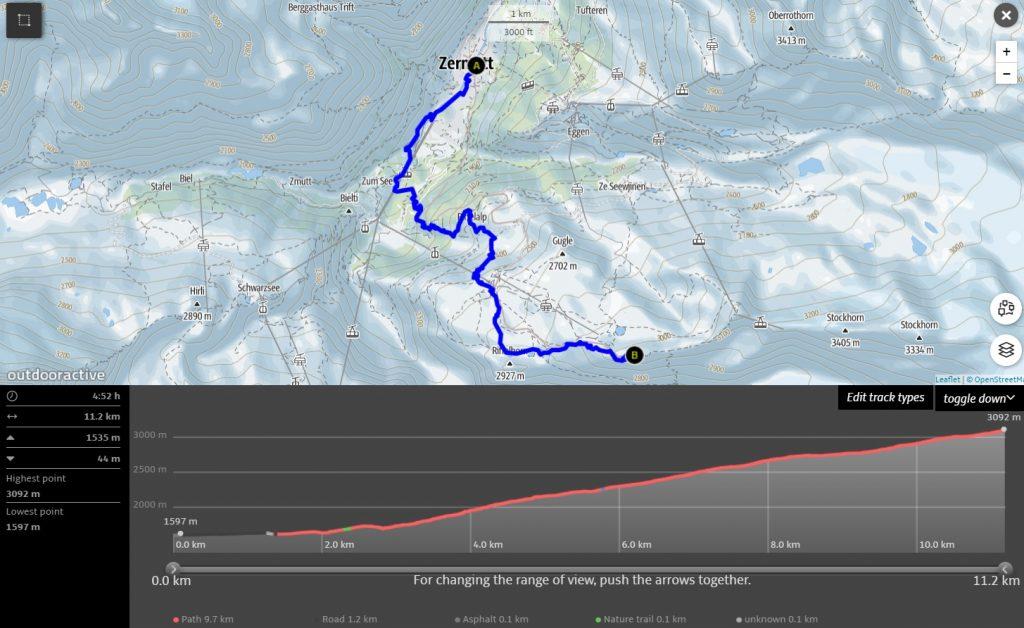 Famous Gornergrat hiking trail