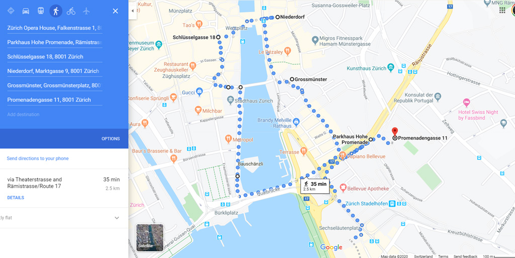 Zurich walking map