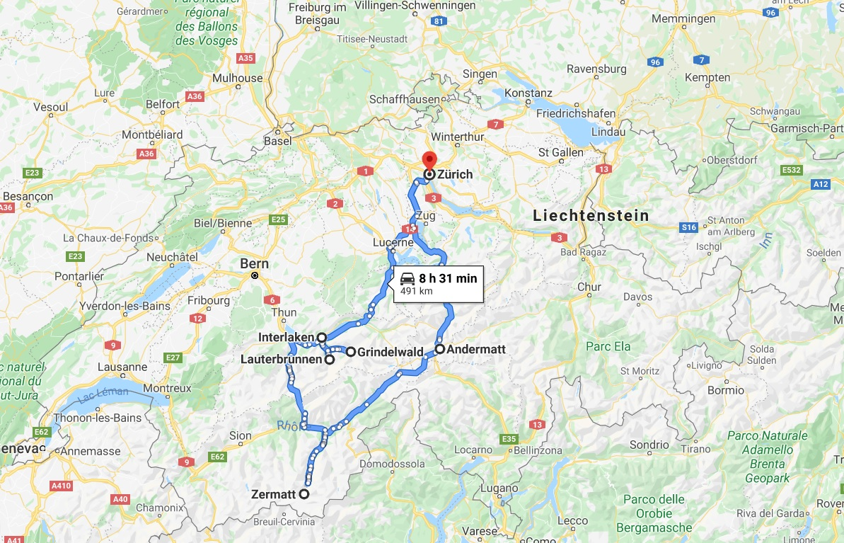 3 days in Switzerland - detailed travel map