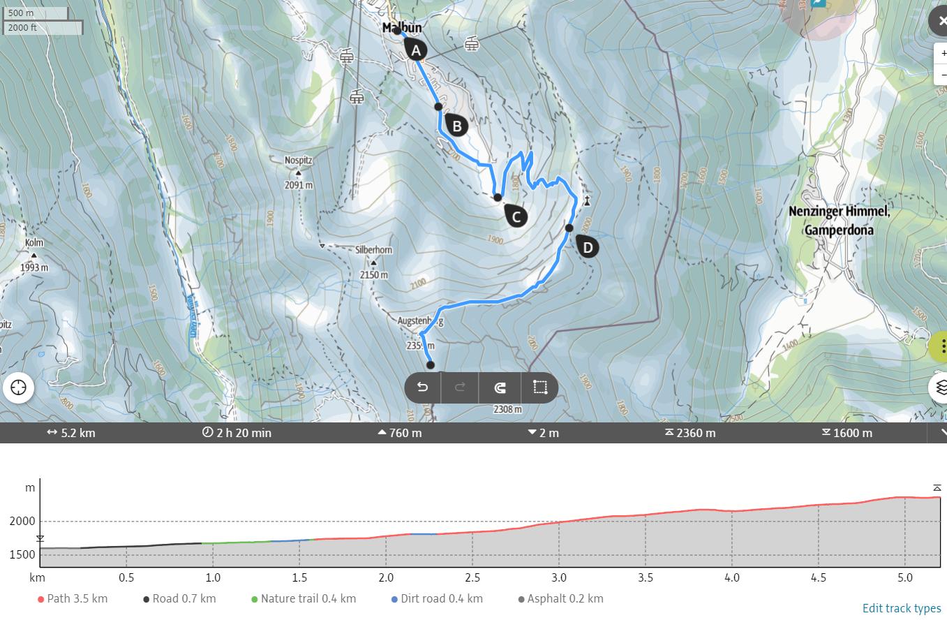 Malbun hiking map